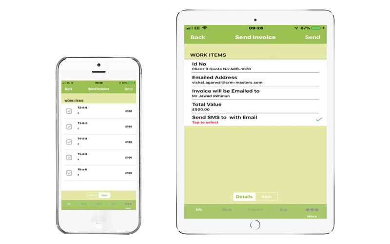 Arb Work App Invoice from Site
